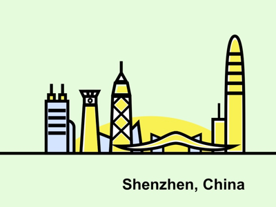 City illustration of Shenzhen, China