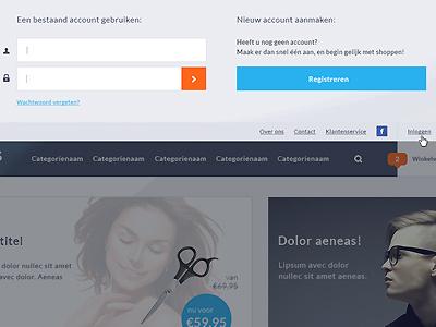 Shop (Seoshop) WIP login clean dropdown login shop webshop joey orange blue djoswork djo seoshop wip