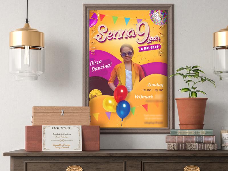 Kids Birthday Flyer joey schmidt joeyschmidt djo party disco rainbow color djoswork flyer kids