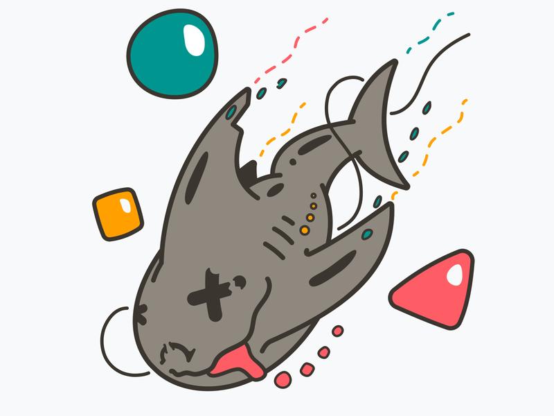 Chomp sea whale cute flat ocean water fish bubbles weird shark
