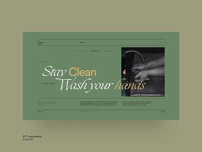 Si™ Inspirations – Stay Clean education website coronavirus minimal grid layout typogaphy ux ui  ux website web design web grid interaction interface