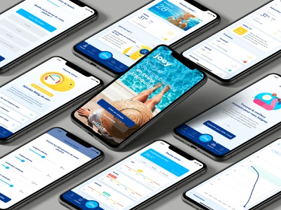 Joey - Smart Water Analyzer blue app smart object interface design art direction ux ui ux design swimming pool pool analyzer connected devices mobile app design mobile ui mobile app