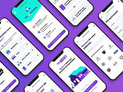 Global Insurance Mobile App phone green service art direction illustration mockups purple motorcycle car home insurance figma app mobile design ui