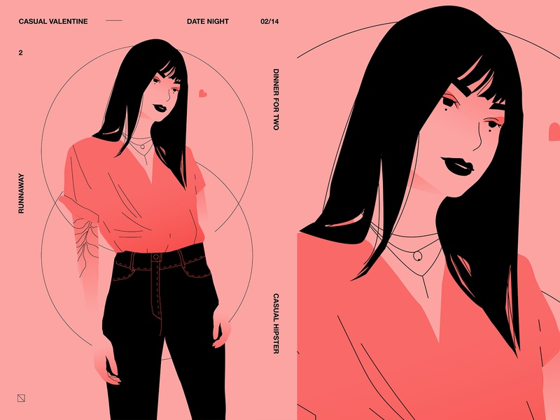 Casual valentine monochrome hipster valentine day valentine pink character girl character girl illustration girl poster challenge poster a day poster art lines poster laconic illustration composition abstract minimal