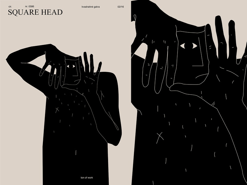 Square head work square head head square conceptual illustration conceptual silhouette management eye hands poster lines laconic illustration composition abstract minimal