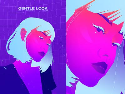 Gentle look neon girl illustration portrait illustration portrait girl poster art lines poster laconic illustration composition abstract minimal