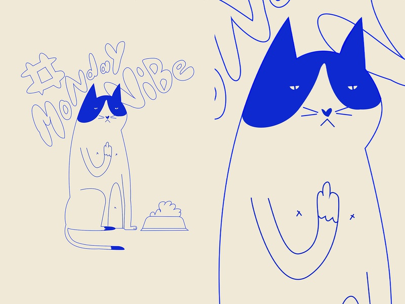 Monday vibes characters monday character pissed cat poster art lines poster laconic illustration composition abstract minimal