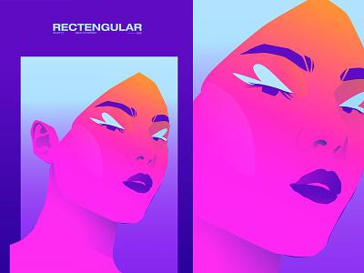 Rectangular portrait illustration portrait art portrait girl illustration girl neon colors grandied poster art poster laconic illustration composition abstract minimal