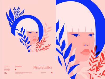 Hidding girl illustration floral background floral girl portrait girl lines poster laconic illustration composition abstract minimal