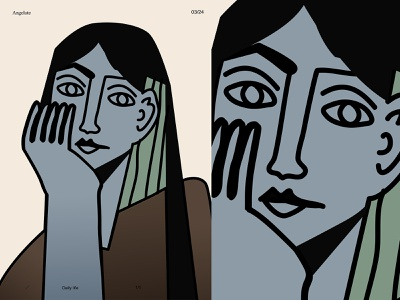 Angelute picasso portrait illustration portrait girl illustration girl poster a day poster art lines poster laconic illustration composition abstract minimal
