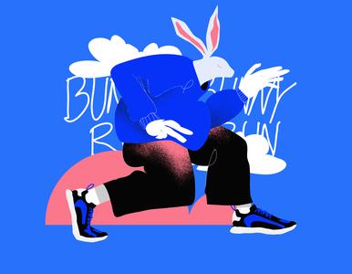 Bunny Run texture animal illustration animal figure run bunny rabbit poster art lines poster laconic illustration composition abstract minimal