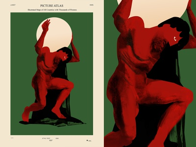 Atlas holding world figure drawing painting deformation figure man atlas poster art lines poster laconic illustration composition abstract minimal