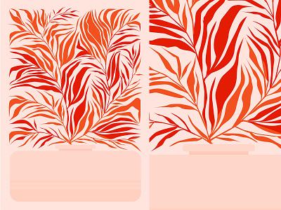 Plants leaves floral illustration floral design floral pattern floral vaze plant fragment lines poster laconic illustration composition abstract minimal