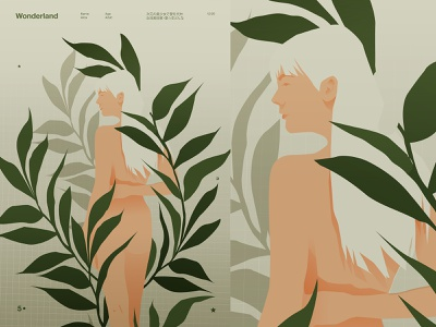 wonderland floral design floral body woman illustration nude woman figure lines poster laconic illustration composition abstract minimal