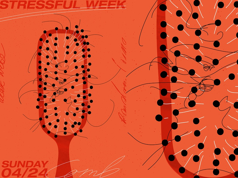 Stressful week oldschool grunge texture stress hair comb poster a day poster art lines poster laconic illustration composition abstract minimal