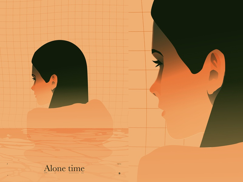 Alone time mist portrait alone bathtub bathroom girl illustration layout fragment poster art lines poster laconic illustration composition abstract minimal