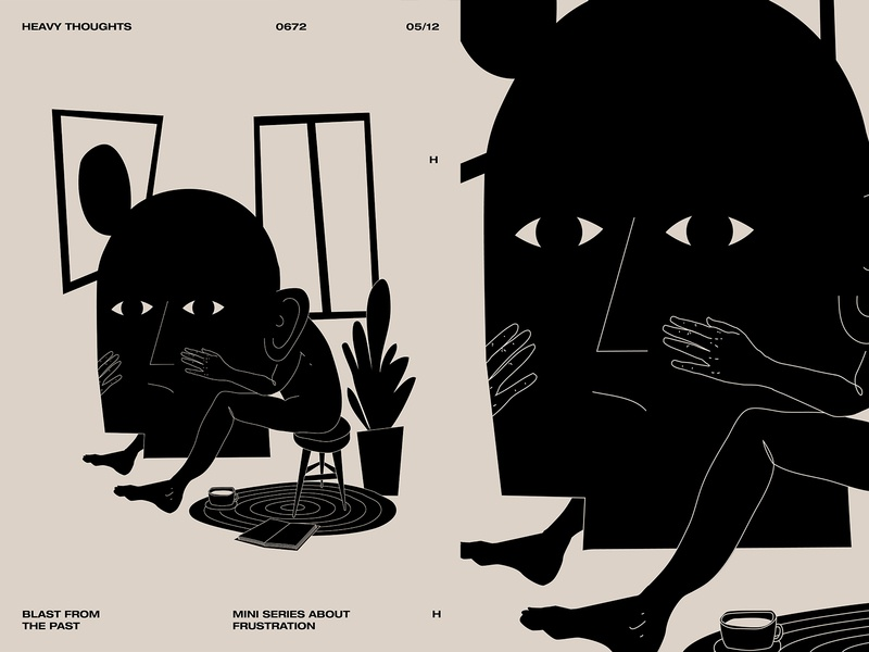 Heavy thoughs portrait face hands man interior double meaning head heavy thoughts layout poster art lines poster laconic illustration composition abstract minimal