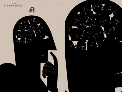 Me and friends think thinker voice doubt man fragment poster art lines brain head poster laconic illustration composition abstract minimal