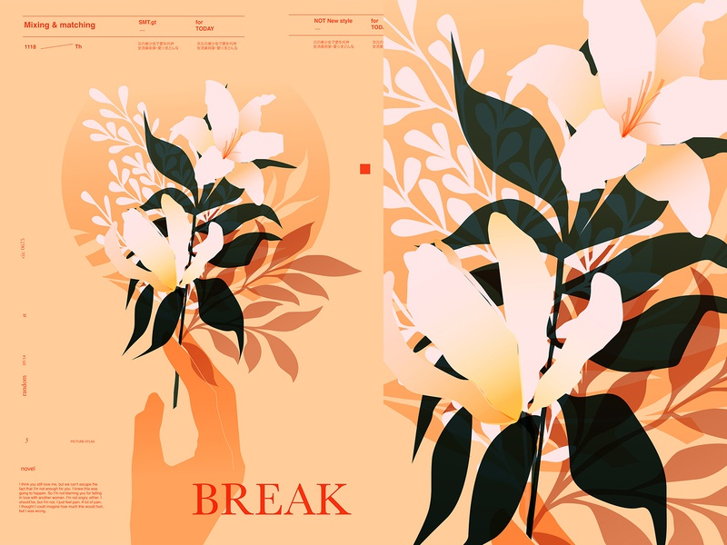 Break free flowers illustration layout typography branches leaves floral flowers hand poster art lines poster laconic illustration composition abstract minimal