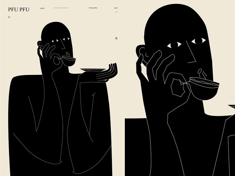 Hot coffee layout blowing cup coffee man poster art lines poster laconic illustration composition abstract minimal