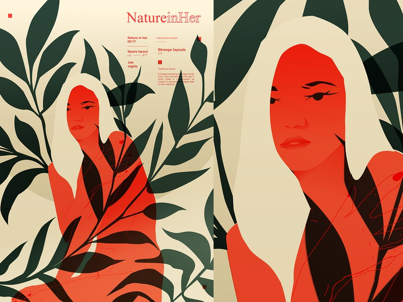 Simple girl typography layout girl protrait floral pattern floral leaves figure girl illustration lines poster laconic illustration composition abstract minimal