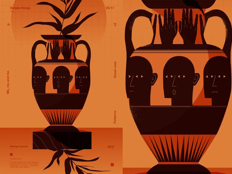 Greek vase emotions vase man layout fragment poster art lines poster laconic illustration composition abstract minimal