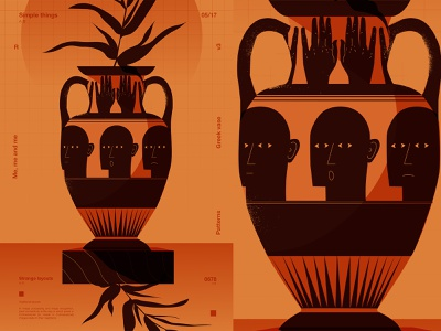 Greek vase emotions vase man layout fragment poster art lines poster laconic illustration composition abstract minimal