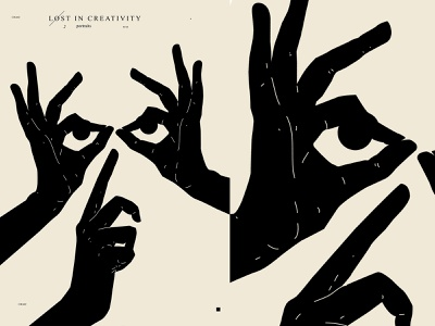 Lost in creativity portrait linocut eye hands hand layout poster art lines poster laconic illustration composition abstract minimal