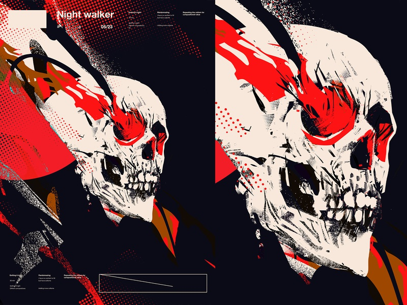 Nightwalker 2 texture dots smokes grunge textures grunge skull art skull layout poster art lines laconic illustration composition abstract minimal poster