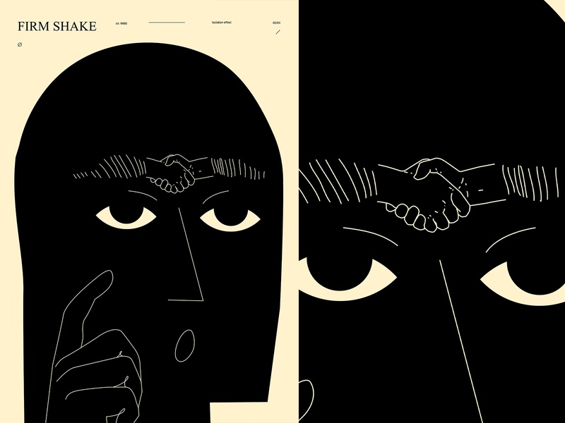 Firm shake handshake shake hand eyebrow man layout poster art lines poster laconic illustration composition abstract minimal