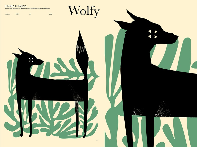 Wolf in the forest layout shapes grunge texture wild forest wolf animal illustration form poster art lines poster laconic illustration composition abstract minimal