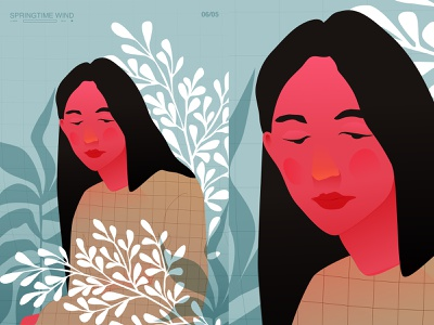 Long face deformation leaves flowers girl illustration girl character floral layout poster art lines poster laconic illustration composition abstract minimal