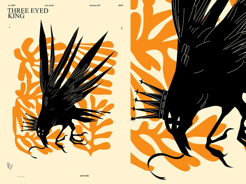 Three eyed king cut out eye crown crow poster art lines poster laconic illustration composition abstract minimal