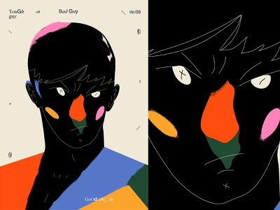 tough guy or bad guy portrait illustration grunge texture portrait layout poster art lines poster laconic illustration composition abstract minimal