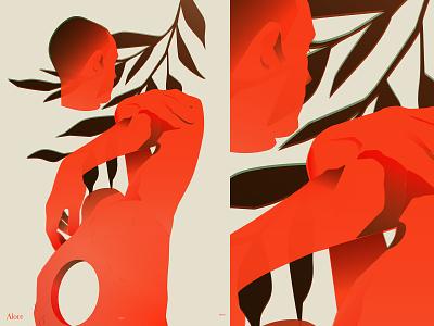 Alore grandients hands man man illustration figure illustration head figure leaves fragment poster laconic illustration composition abstract minimal