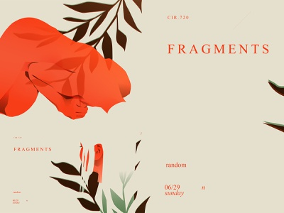 Fragments body layout leaves head figure fragment lines poster laconic illustration composition abstract minimal