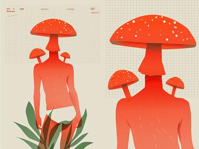 Mushroom head mushroom figure poster art lines poster laconic illustration composition abstract minimal