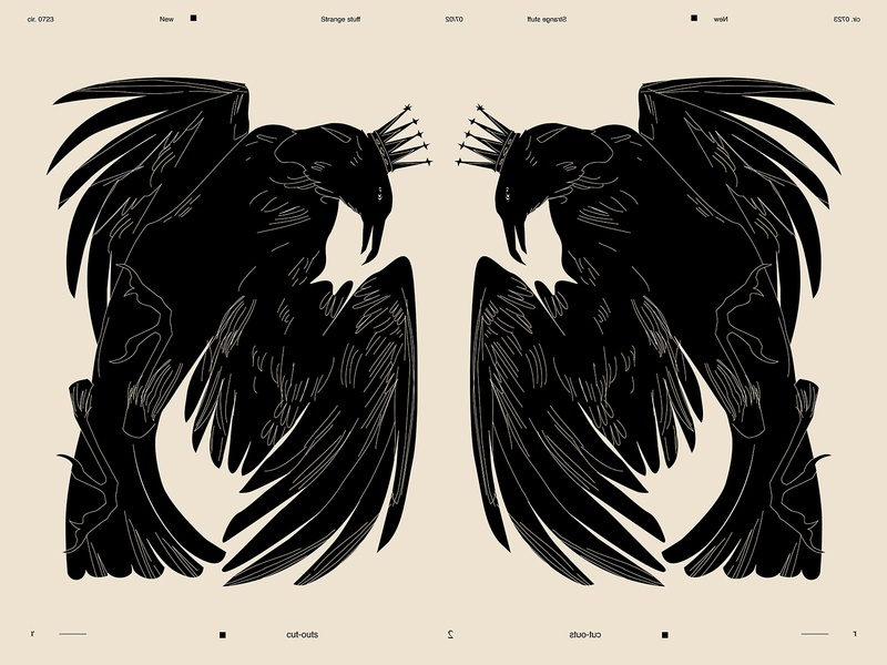 Crow crowns crown cut out lines poster laconic illustration composition abstract minimal