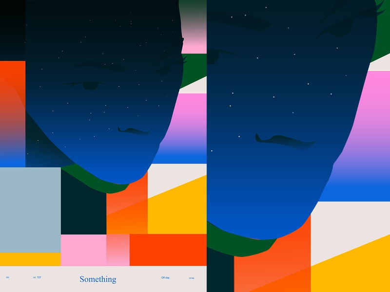 Off day painting office something night portrait illustration portrait fragment poster art lines poster laconic illustration composition abstract minimal