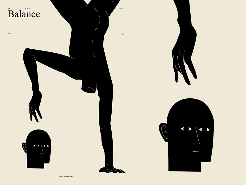 Balance head balance standing on hands hands man poster art lines poster laconic illustration composition abstract minimal
