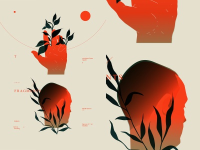 Fragments 735 head face hand layout fragment poster laconic illustration composition abstract minimal