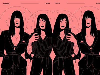 Besties hipsters selfie woman illustration girl illustration charecter design character girl lines poster laconic illustration composition abstract minimal