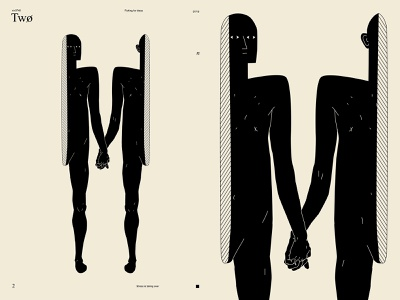 Two charecter design figure split personality split two conceptual poster art lines poster laconic illustration composition abstract minimal