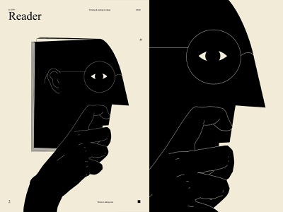 Reader reading read conceptual illustration conceptual book thinkers thinker man poster art lines poster laconic illustration composition abstract minimal