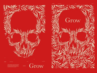 Grow book skull art skulls leaves book cover floral patterns floral skull poster art lines poster laconic illustration composition abstract minimal