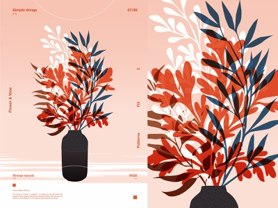 Flowers and Vase floral illustration floral design vase floral pattern leaves floral print poster art lines poster laconic illustration composition abstract minimal