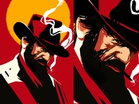 RDRII sun smoke cowboy red dead redemption poster a day poster art lines poster laconic illustration composition abstract minimal