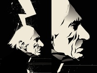 Strange portrait black and  white comics portrait illustration portrait art old man portrait poster a day poster art lines poster laconic illustration composition abstract minimal