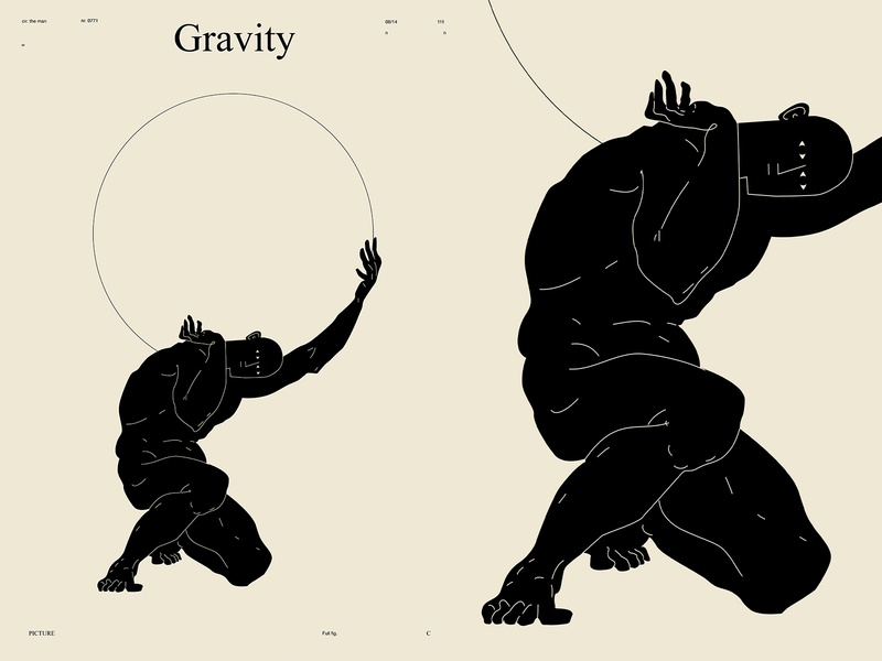 Gravity world holding figuredrawing figure illustration figure atlas lines poster art poster laconic illustration composition abstract minimal
