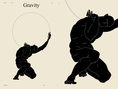 Gravity world holding figuredrawing figure illustration figure atlas lines poster art poster laconic illustration composition abstract minimal